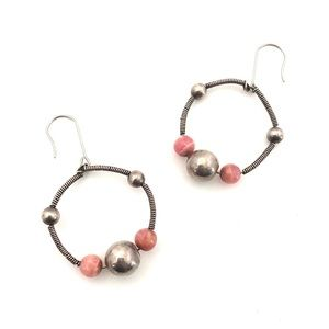 Rhodochrosite Sterling Silver Hoop Dangle Earrings
